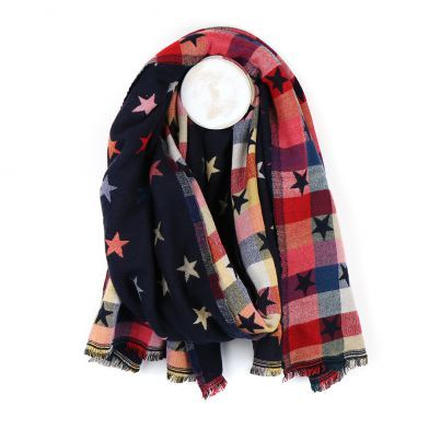 Navy Reversible Jacquard Star Scarf